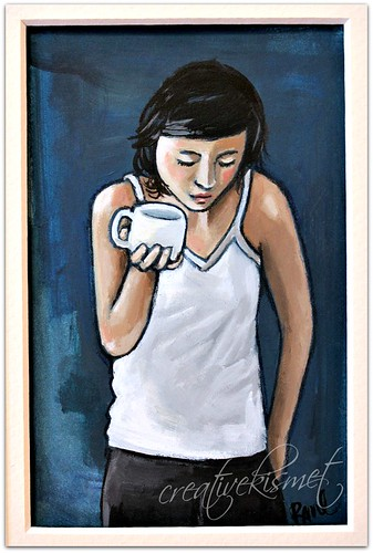 girl with coffee or tea - art by Regina Lord
