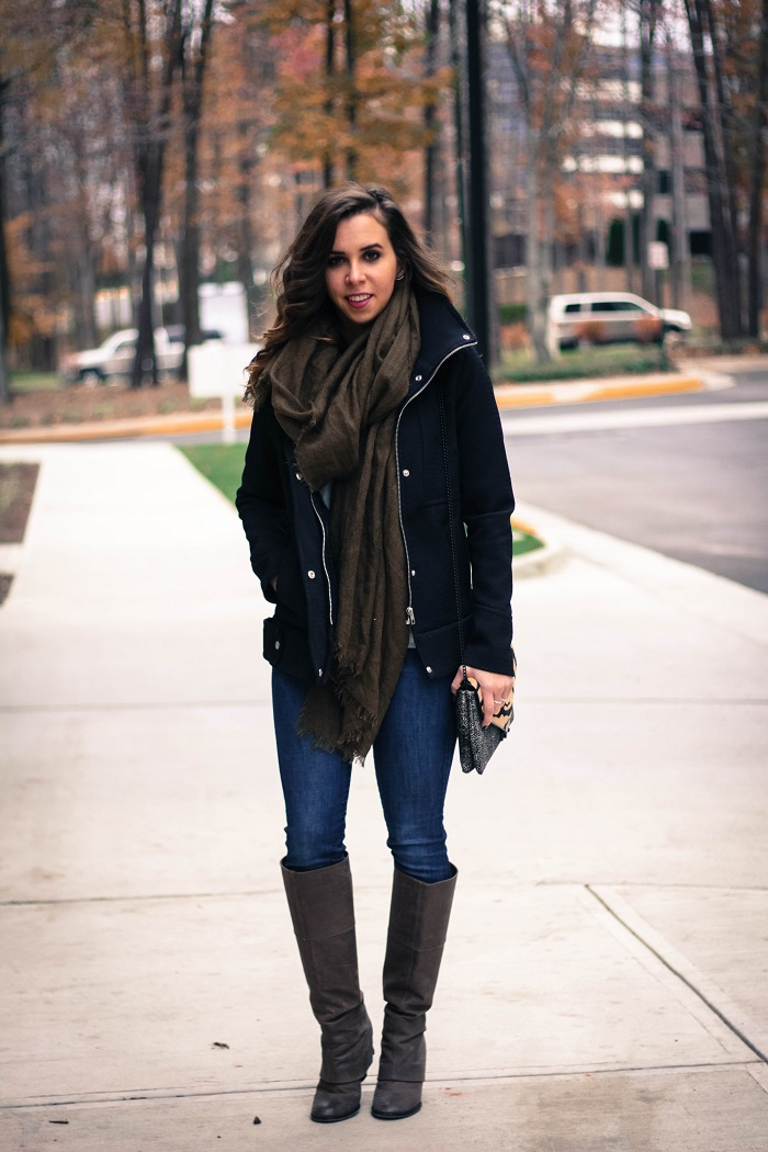 black winter jacket. green scarf. denim. knee high boots. loeffler randall calf hair bag. fall outfit. va darling. 3