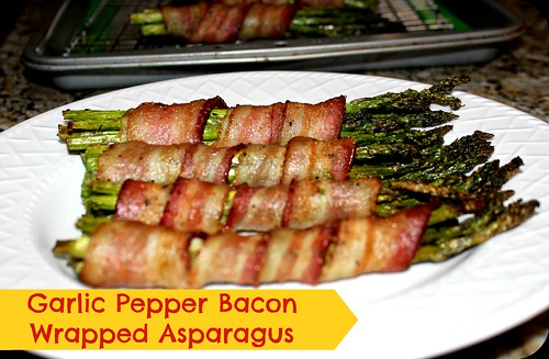 garlic pepper bacon wrapped asparagus