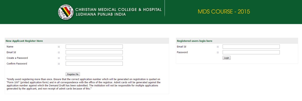 CMC Ludhiana MDS Online Application Form 2015