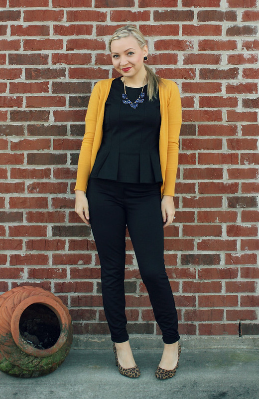 all black + mustard sweater