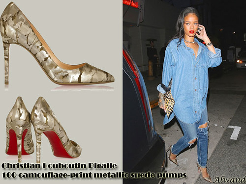 Christian Louboutin Pigalle 100 camouflage-print metallic suede pumps with double denim outfit