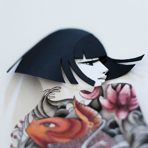 Illustrated Paper Sculpture - inked woman with short straight dark hair (detail)