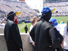 A couple of penguins at the BYU football game in Provo, Utah