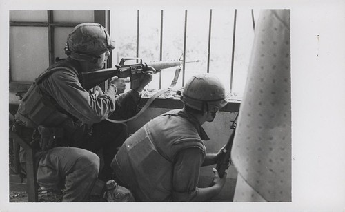 Marines Fire From a House Window, February 1968