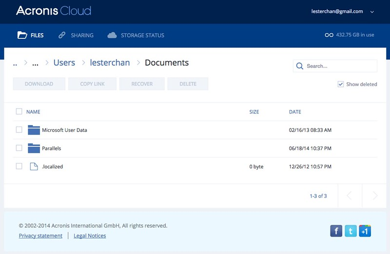 Acronis True Image 2015 - Web Interface - Documents