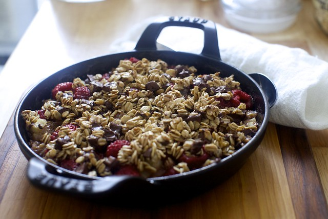 chocolate oat raspberry pear crumble