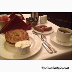 "Sneaking a late breakfast. This is probably the best #foodie pick I've done in a long time! Thx Jackie and Omni Parker hotel for sneaking in a breakfast for me at a late hour! #whatsprinceeating: ""Toasted Bagel w/ Sausage"" www.princesdailyjournal.com #pri"