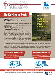 Débats autour du livre « Pas de printemps pour la Syrie »