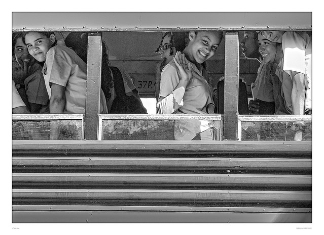 Good mood in school bus