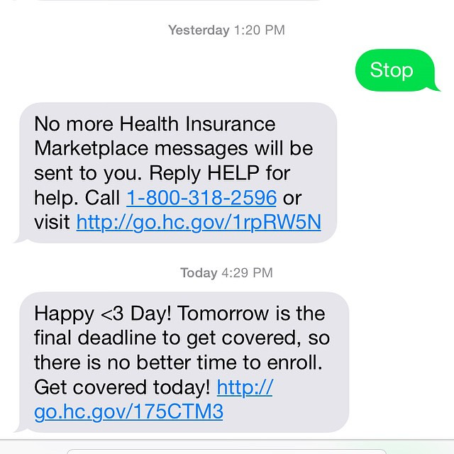 I literally get 1-3 messages a day from the health insurance market place. Thought I figured out how to stop it yesterday.... Guess not?? 😒 by bartlewife