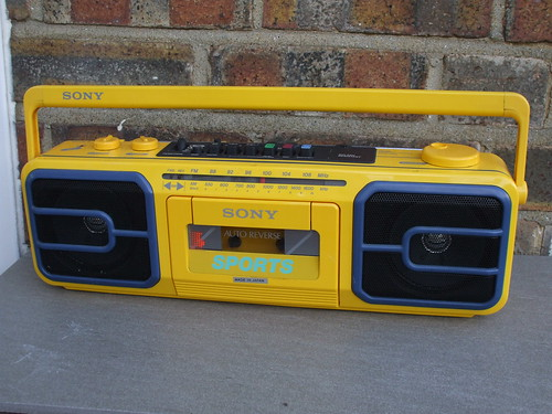 Bright Yellow Retro 1980's Sony Sports Radio Casette Tape Player Made in Japan