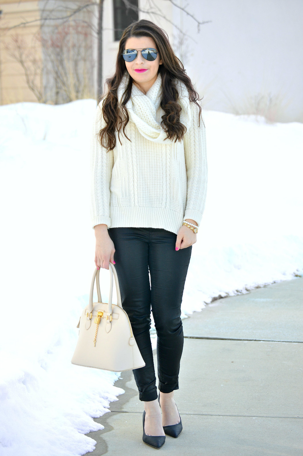 faux leather and sweater