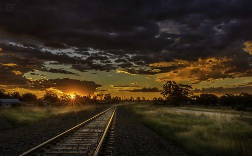 sunset landscape railway australia nsw outback temora
