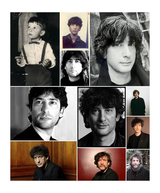 Collage of Neil Gaiman potraits