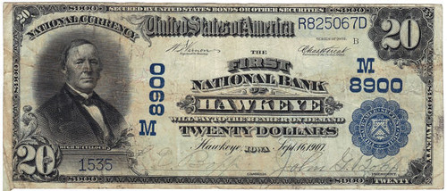 Hawkeye IA National Bank Note