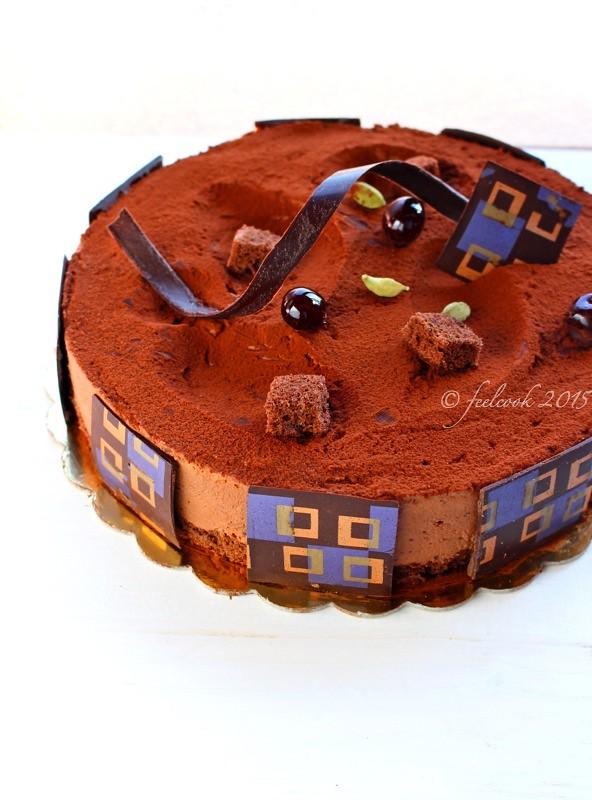 Torta mousse di cioccolato e amarene