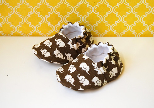 Elephants on parade baby booties