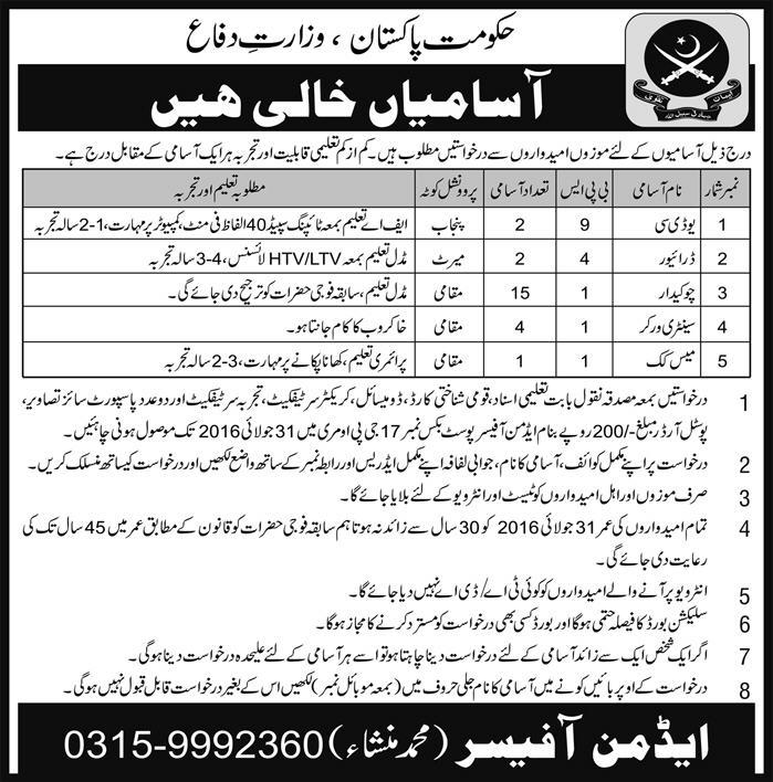 Ministry of Defense Jobs from BPS-1 to BPS-9
