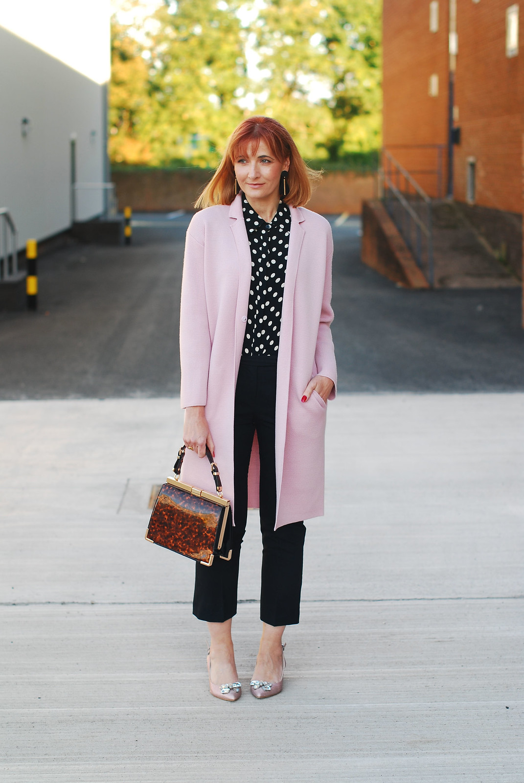 Retro 80s styling: Pink Winser coatigan and black and white polka dots, block heel pink glitter shoes | Not Dressed As Lamb, over 40 style