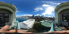 A view of Honolulu from the North side of the Aloha Tower in Honolulu, Hawaii - a 360 degree Equirectangular VR