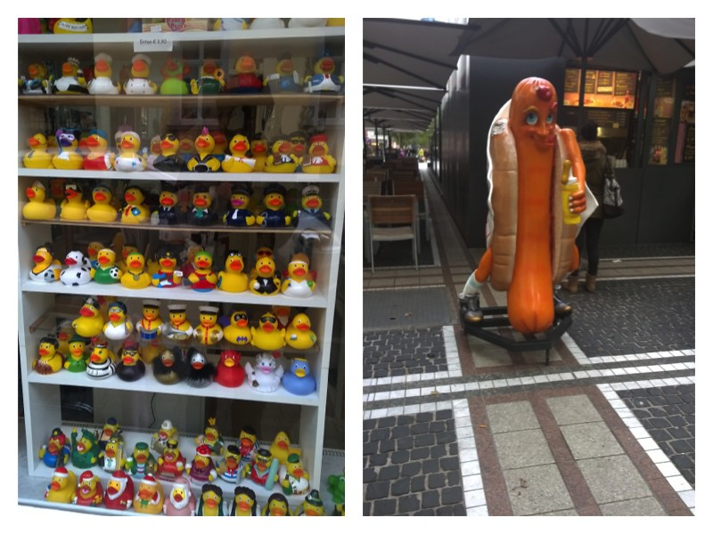 Patinhos de borracha no Sachsenhousen e Boneco cachorro-quente em Frankfurt