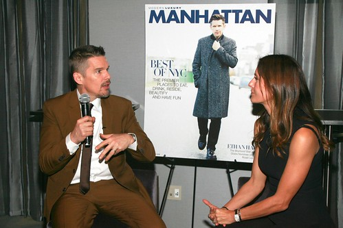 Ethan Hawke, Cristina Cuomo==.Modern Luxery Manhattan Celebrates Cover with Ethan Hawke==.Park Hyatt, 153 West 57th Street, NYC.==.January 6, 2015==.©Patrick Mcmullan==.photo-Sylvain Gaboury/PatrickMcmullan.com==.==