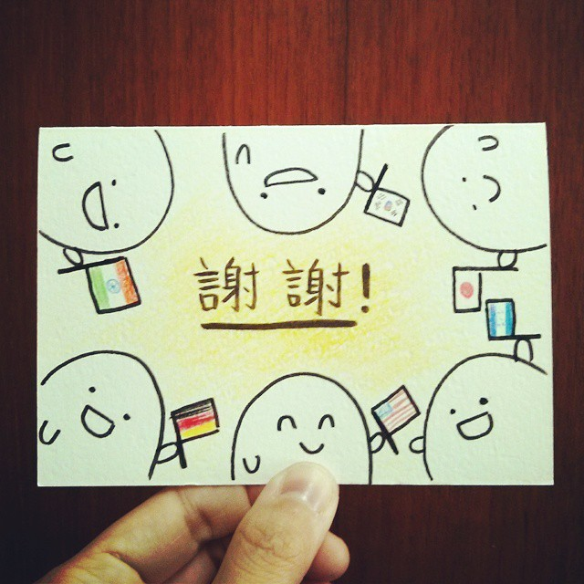 """Thank you"" card I drew for my teacher for the end of the quarter. One blob for each student in my class. :) #doodle #thankyou #謝謝"