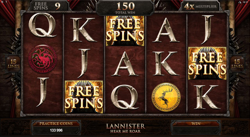 Game of Thrones - 15 Lines Free Spins Feature
