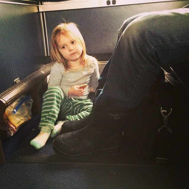 Taking advantage of copious Amtrak legroom. #winterbreak2014 #amtrak