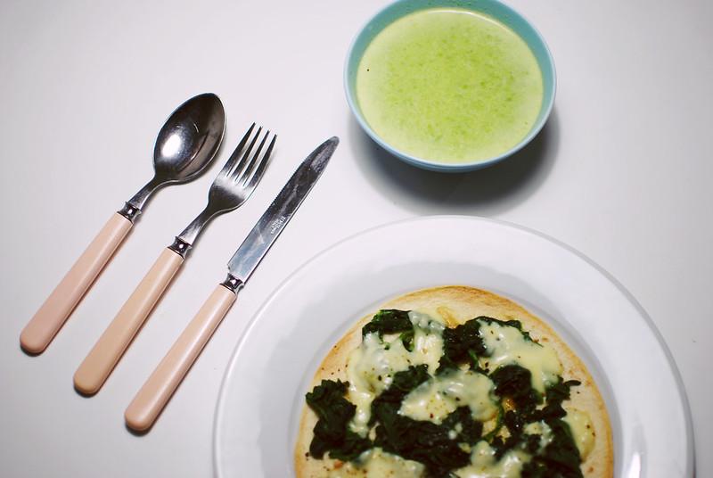 grön ärtsoppa + tortillapizza