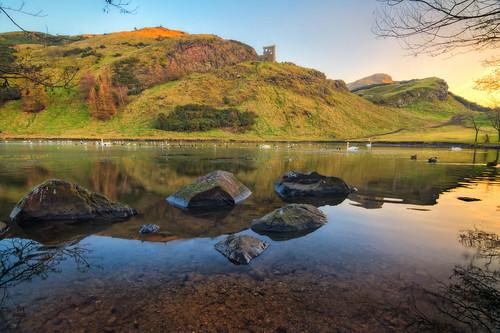 uk sunset lake landscape edinburgh unitedkingdom loch hdr arthursseat photomatix nikhdr nikond7100