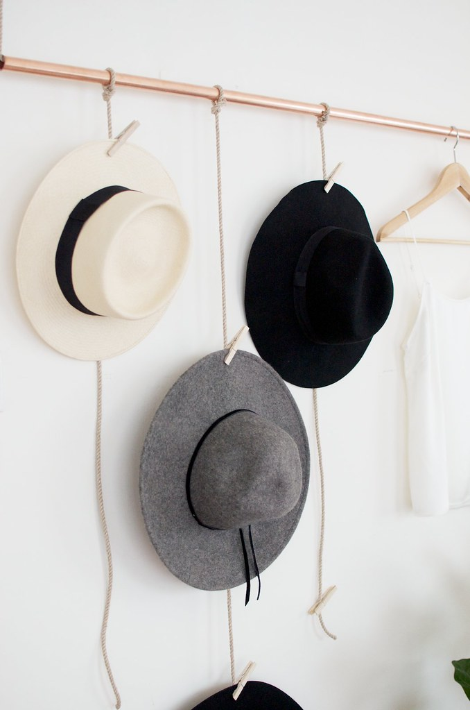 Diy hanging copper hat rack a pair a spare for Diy hat organizer