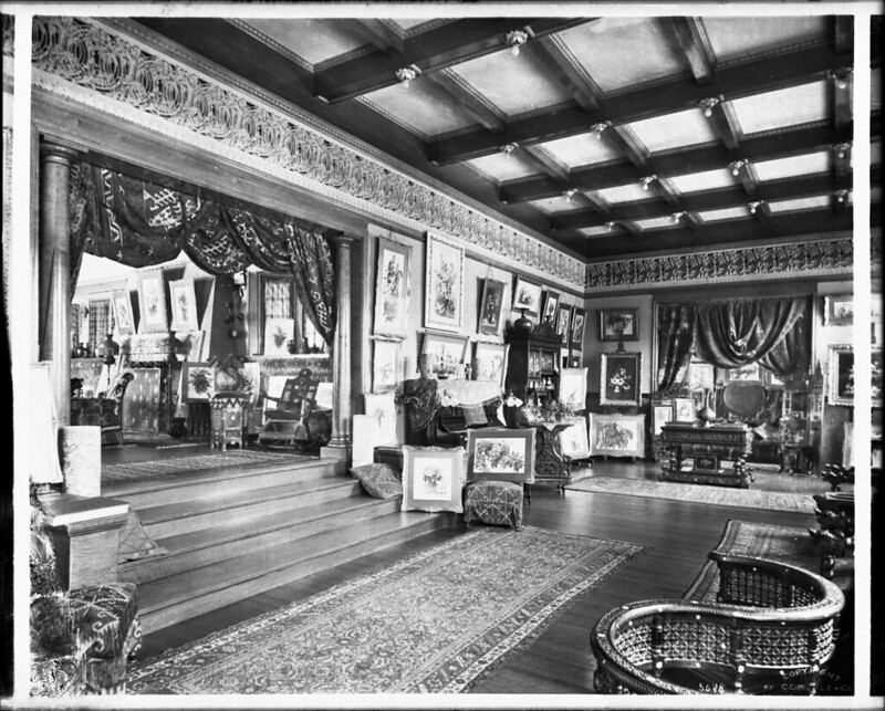 Interior view of the art studio or gallery of the Paul deLongpre residence, Hollywood Boulevard and Cahuenga Avenue, Hollywood, ca.1905 (CHS-5048)