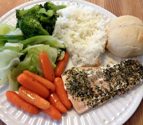 I Serve Our Salmon With Veggies Rice Or Pasta And Garlic Bread Or Fresh Rolls