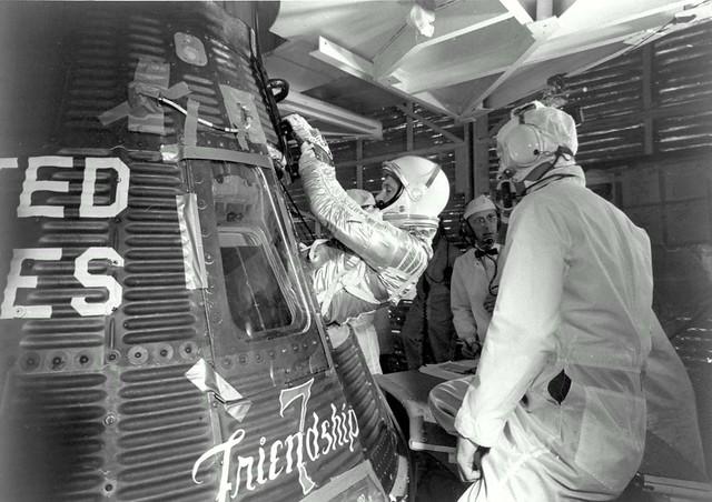 John Glenn enters his Friendship 7 capsule