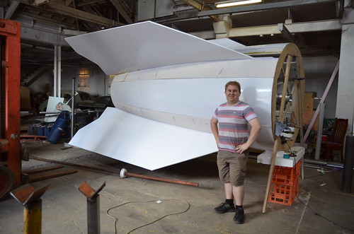 Fin can - Ashley Hill for scale - V2 Build Day 20th Feb, 2015