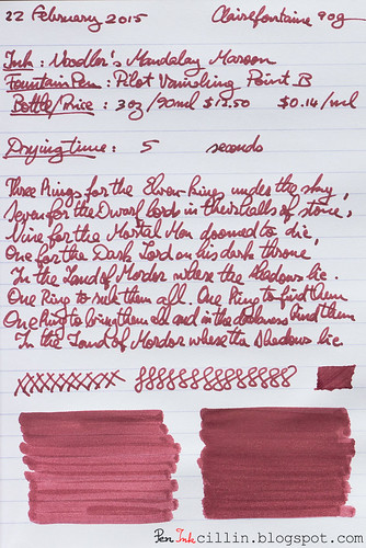 Noodler's Mandalay Maroon on Clairefontaine