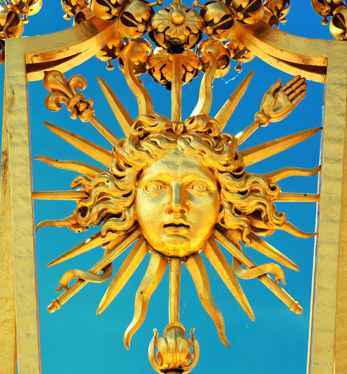 Louis's sun symbol on the gates of Versailles. Credit Dennis Jarvis