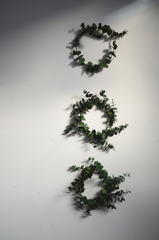 Mini Eucalyptus Wreaths on juliettelaura.blogspot.com
