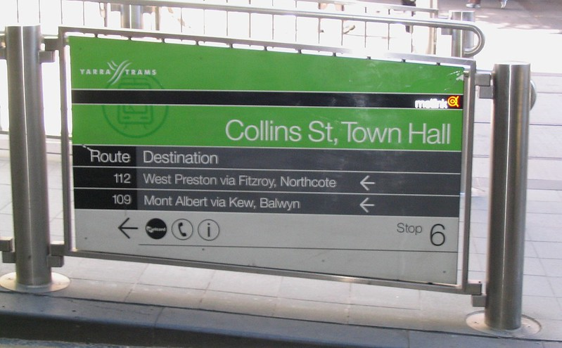 Incorrect signage, Town Hall tram stop