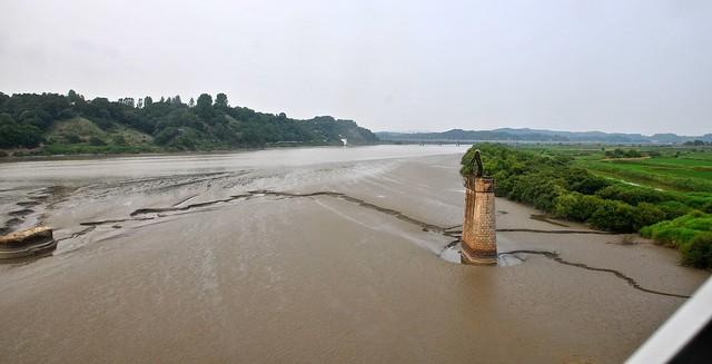 Crossing river on DMZ train