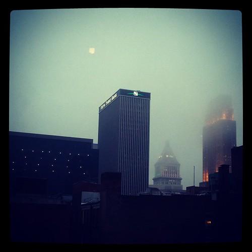 It's a foggy evening in downtown Cincinnati...