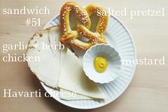 sandwich no. 51: garlic + herb chicken + Havarti cheese on a pretzel