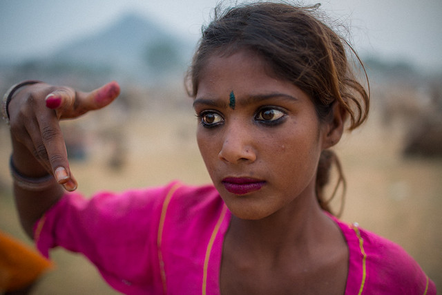 little Kalbeliya Gypsy during the camel pushkar fair