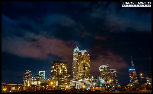 charlotte skyline longexposure nightphotography northcarolina nc usa uptown canon rebel t5i 700d 1855stm kitlens landscape city us unitedstatesofamerica america northamerica na dslr photography chinmayavachatphotography cap copyright allrightsreserved american moments creative commons flickr flickriver explore best camera art lens photooftheday picoftheday beautiful composition potd pictureoftheday wow