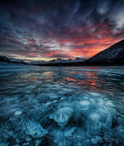winter lake ice landscape frozen bubbles alberta abrahamlake kootenayplains