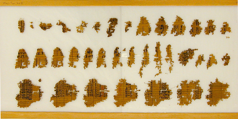 Fragments of an Abusir papyrus, one of the oldest surviving papyrus