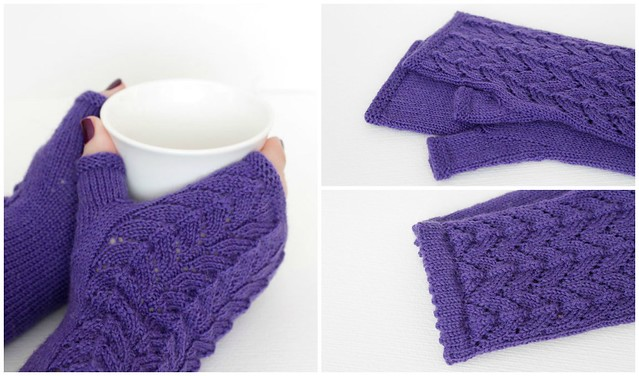Purple lace mittens