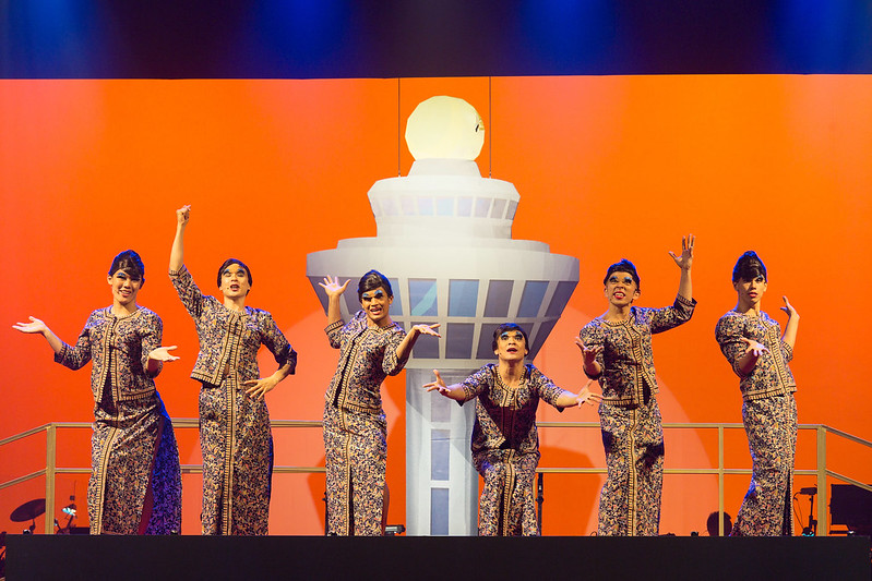 National carrier and their world-famous SQ girls in their signature tight kebaya uniform were parodied by men in drag